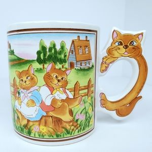 Vintage Country Cat Couple Handle Coffee Mug Cup